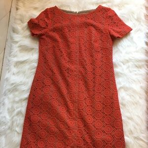 Anne Klein Dark Coral Lace Dress, Size 8